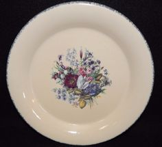 Home And Garden Party FLORAL Dinner Plate Floral Center Exterior, Sponge  Rim, Dinnerware,