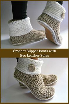 Crochet Slipper Boots with Eco Leather Soles. Great gift idea. #crochet #slippers #boots #ad