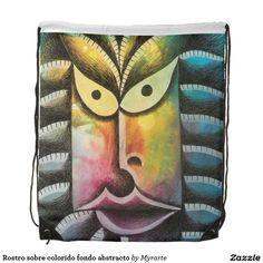 Rostro sobre colorido fondo abstracto. Producto disponible en tienda Zazzle. Accesorios, moda. Product available in Zazzle store. Fashion Accessories. Regalos, Gifts. #mochila #backpack #face #rostro