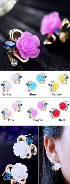 So cute Cute Rose Sapphire Diamond Gilded Lady Elegant Earring Studs !!! #earring #rose #diamond #cute #jewelry