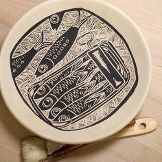 Laurie Landry Sgraffito sardine bowl 2015 www.laurielandrypottery.com