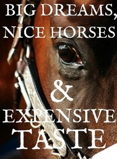 horses.  big dreams dealing with horses, i do and will own nice horses, expensive taste in horses.  nuff said.