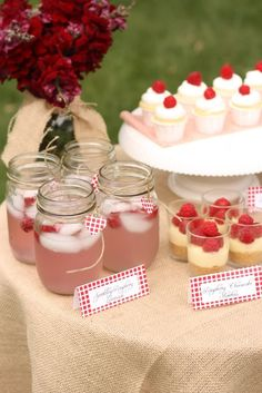 Cute shower idea - raspberry dessert table