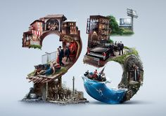 HBO Anniversary on Behance Creative Poster Design, Ads Creative, Creative Posters, Creative Advertising, Graphic Design Posters, Advertising Design, Graphic Design Inspiration, Photomontage, 3d Typography