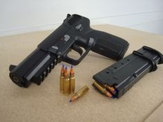 FN Five-seveN Chambered in 5.7x28mm, this handgun is primarily known for three things; it uses the same ammo as the FN P90, has an impressive 30 round magazine, but most unfortunately was also the weapon used by the Fort Hood shooter, Major Nidal...