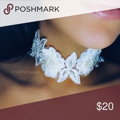 """Wedding Choker 🌸 Large white lace choker for wedding or special occasion 🌸 Handmade by me 🌸 12"""" with extender that extends to 15"""" ❌ No trades ❌ No offers on this particular item. Please bundle if you want a discount, check my closet discount for current bundle deals. Jewelry Necklaces"""