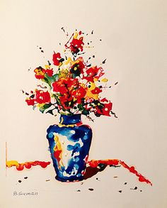 #painting #flowers #redflowers #vaseofflowers #giftideas #giftformom…