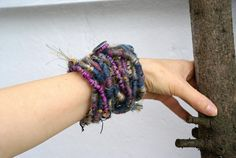 Long Multiple Wrap Bracelet / Necklace Fiber Wraps Bracelet