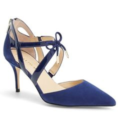 rich blue pointy toe pumps
