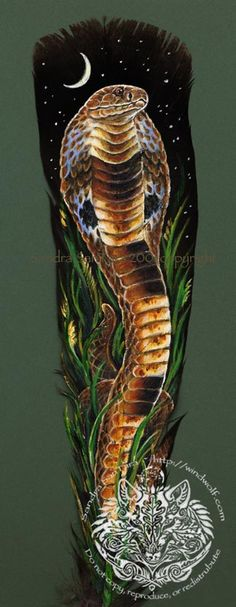 Force to be reckoned with--King Cobra painting on feather by Sandra SanTara
