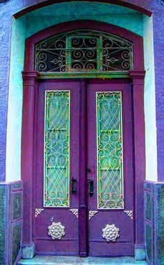 Purple and blue doors.                                                                                                                                                                                 More