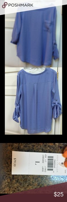 Net Ann Taylor blouse Beautiful blu blouse - 3 quarter sleeve with button connection. Ann Taylor Tops Blouses
