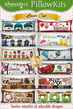 The adorable pillows from our Kimberbell Pillow Club are now available as individual kits! Each kit will include the pattern, all fabrics, embellishments, and laser-cut appliqué pieces necessary to create one of these cute bench pillows!