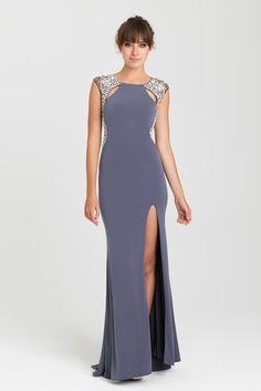 Prom Dresses | Style 16-417 | 2017 | Gateway Bridal & Prom | Salt Lake City | Utah | Worldwide Shipping | The open back of this jersey gown is framed by sparkling Swarovski crystals.     Available in Black, Gunmetal, Royal, Pink