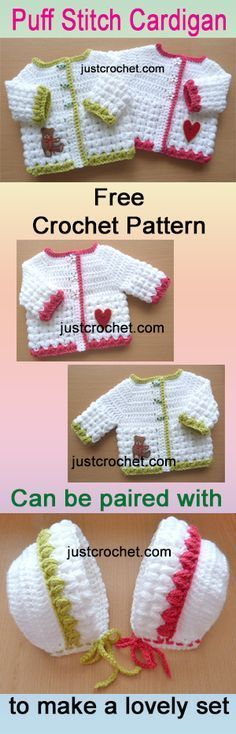 Free baby crochet pattern for preemie puff stitch cardi. Free baby crochet pattern for preemie puff stitch cardi. Knitting works add time when ladies spend their free t. Pull Crochet, Crochet Girls, Crochet For Kids, Free Crochet, Baby Sweater Patterns, Baby Clothes Patterns, Baby Patterns, Crochet Patterns, Crochet Baby Cardigan Free Pattern