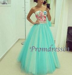 Beautiful long prom dress, poofy ball gown, 2016 handmade green tulle long…