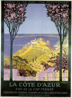 La Cote d'Azur (French Riviera) Vintage travel beach poster Vintage de Turismo - #essenzadiriviera www.varaldocosmetica.it/en
