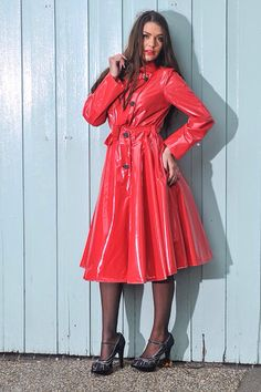 """**UK Hand Made To Order** Authentic Style """"Double Breasted & Skirted Rain Mac """" in Red Shiny by Elements Rainwear Red Raincoat, Vinyl Raincoat, Raincoat Jacket, Plastic Raincoat, 1950s Fashion, Vintage Fashion, Vintage Style, 1950s Style, 50 Style"""