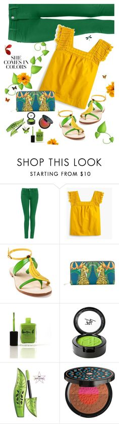 """""""Oh Happy Day!"""" by juliehooper ❤ liked on Polyvore featuring J.Crew, Cornetti, Furla, Lauren B. Beauty, Beauty Is Life, Lancôme, Summer, colors and polyvoreeditorial"""