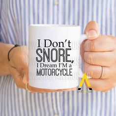 "Gift for men christmas, who have everything, ""I dream I am a motorcycle"" funny coffee mug, gifts for him, boyfriend husband birthday MU681 by artRuss on Etsy"