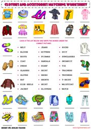 clothes and accessories vocabulary matching exercise worksheet 1 icon