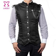 Black Striped Collar Long Sleeveless Vest Vintage Coats Corset Jacket  Steampunk Waistcoat Mens Gothic Clothing Plus 6442f288638