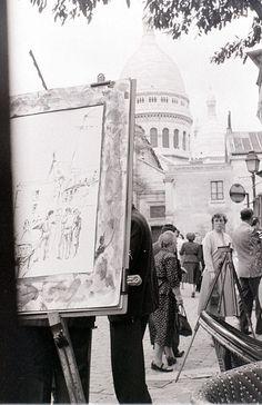 In Place du Tertre, Montmartre, Paris, 28 July 1955