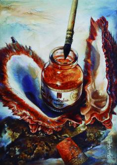 Antonio Valiente Medina  Oleo sobre Lienzo de Lino esta pintura se realizo para la portada delc catalogo comercial de la tienda de materiales Artisticos Spondylus
