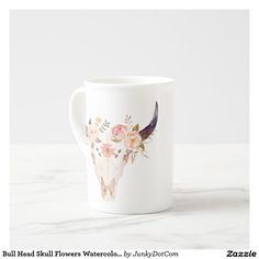 Bull Head Skull Flowers Watercolor Illustration Tea Cup March 6 2017 #junkydotcom #zazzle