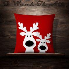 Christmas Reindeer  Christmas Pillow  Holiday by iwantitalldesign