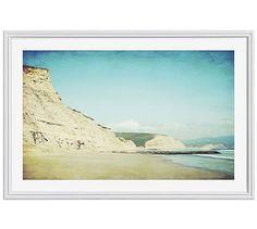 """Sand Cliffs Framed Print by Lupen Grainne, 42 x 28"""", Ridged Distressed Frame, White, Mat"""