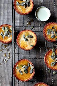 honey pumpkin seed cake ( uses butter, powdered sugar, flour, almond flour, egg whites, and pumpkin seeds)