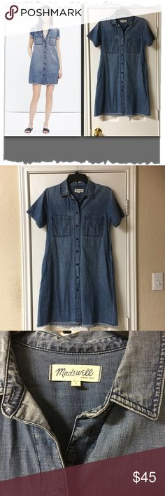 """Madewell Denim Shirt Dress w/Released Hem Madewell Denim Shirt Dress w/Released Hem. So versatile and comfy. Great condition! 100% Cotton. Front chest pockets. Two front side pockets. Button down. Short sleeves. Bust 36"""", hips 42"""", length 34.5"""". Chambray, Shift. Madewell Dresses"""