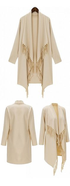 Longline coat, with fallwater design, looks great in every occasions.  Woven fabric;Waterfall front; Tassel detail; Regular fit - true to size; Non-stretchable Material;Hand wash;100%Polyester