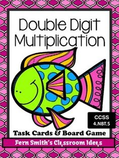 Double Digit Multiplication Task Cards and Board Game - Ocean Themed for 4.NBT.5