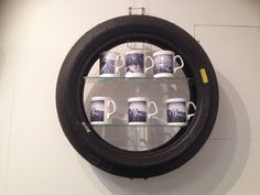 Old motorbike tyres transformed into shelves