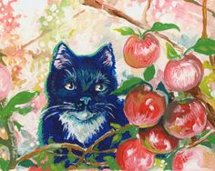The Old Apple Tree 5 x 7 cat print of original by TheWhimsicalFrog