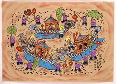 Huxian Folk Painting - Dragon Boat Dance US$49.95
