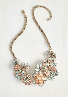 Vow to Wow Necklace in Blush. Each time you clasp the golden curb chain of this statement necklace at your nape, youre making a promise to fill the air with flair! #modcloth