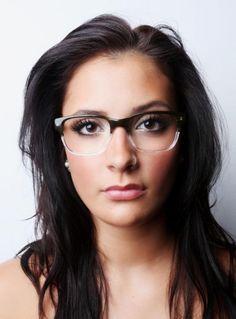 Half clear Horned Rim glasses