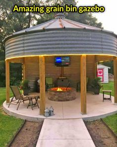 Backyard Pavilion, Backyard Gazebo, Backyard Patio Designs, Fire Pit Backyard, Backyard Landscaping, Backyard House, Rustic Outdoor Structures, Outdoor Fire, Outdoor Living
