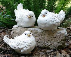 """3 White Doves 5"""" long Concrete Bird Figurines/Garden Statues Handmade by Seller"""