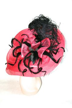 New Church Kentucky Derby Hat Fuchsia Pink Black Polkadot Dress Formal Sinamay | eBay