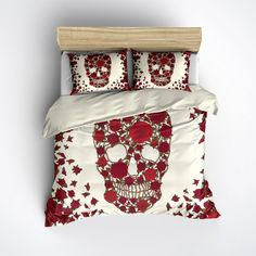 Featherweight Skull Bedding - Red Flower Skull Printed on Cream - Comforter Cover - Sugar Skull Duvet Cover, Sugar Skull Bedding Set by InkandRags on Etsy https://www.etsy.com/listing/246719525/featherweight-skull-bedding-red-flower