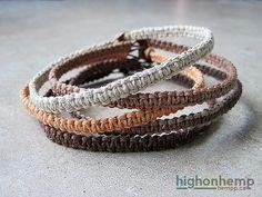 Natural Bracelets Hemp Bracelets Bracelet Set Simple by HighonHemp