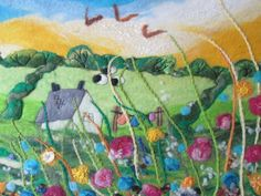 textile art felt painting felt and embroidery by SueForeyfibreart