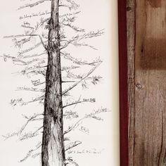 Signature Conifer Tree, Wedding Guest Book Alternative with 1 pen - Bleu de Toi