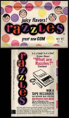 Razzles - fruit flavored gum - 1972