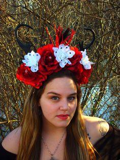 deer antler headband ella diablo dia de los от LittleBlueBirdSays