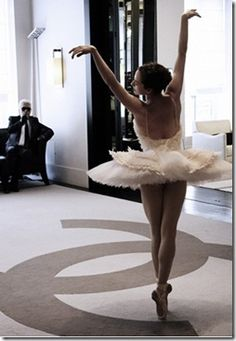 Elena Glurdjidze, dancing for Karl Lagerfeld during fitting at Chanel